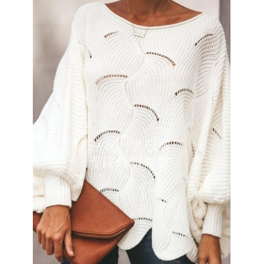 LW Plus Size Dropped Shoulder Hollow-out Sweater