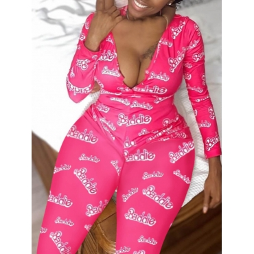LW Plus Size Letter Print Skinny Pink One-piece Jumpsuit