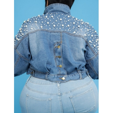 LW Plus Size Back And Front Button Pearl Decoration Denim Jacket, lovely, Plus Size Denim Jacket  - buy with discount