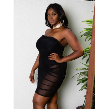 LW SXY Plus Size Off The Shoulder See-through Dress