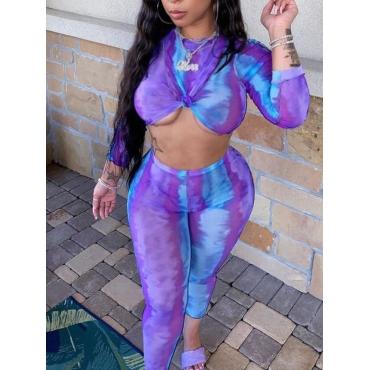 LW SXY Tie-dye Crop Top Pants Set