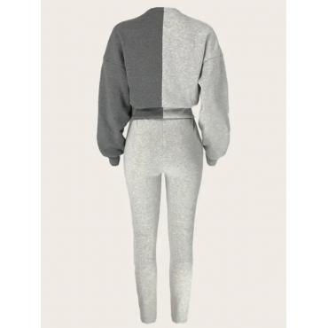 LW Design Patchwork Crop Top Sweatsuit Set