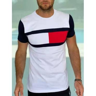 LW Men Casual O Neck Color-lump White T-shirt