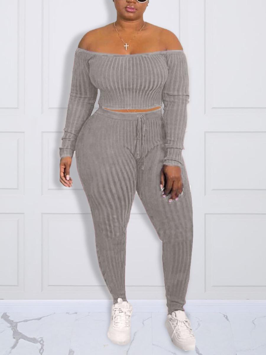 LW Plus Size Velvet Rib Knit Bandage Basic Pants Set