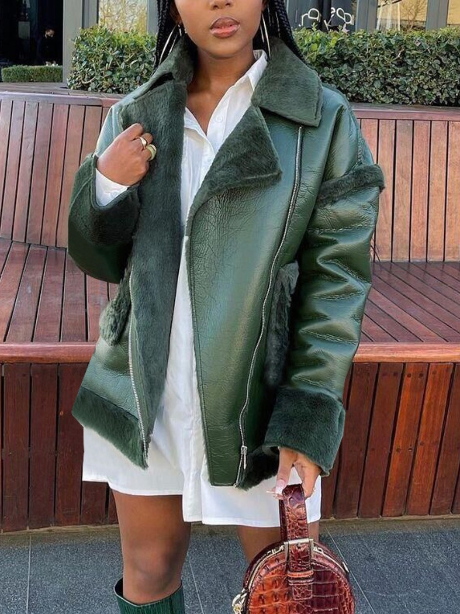 LW Turndown Collar Zipper Design Leather