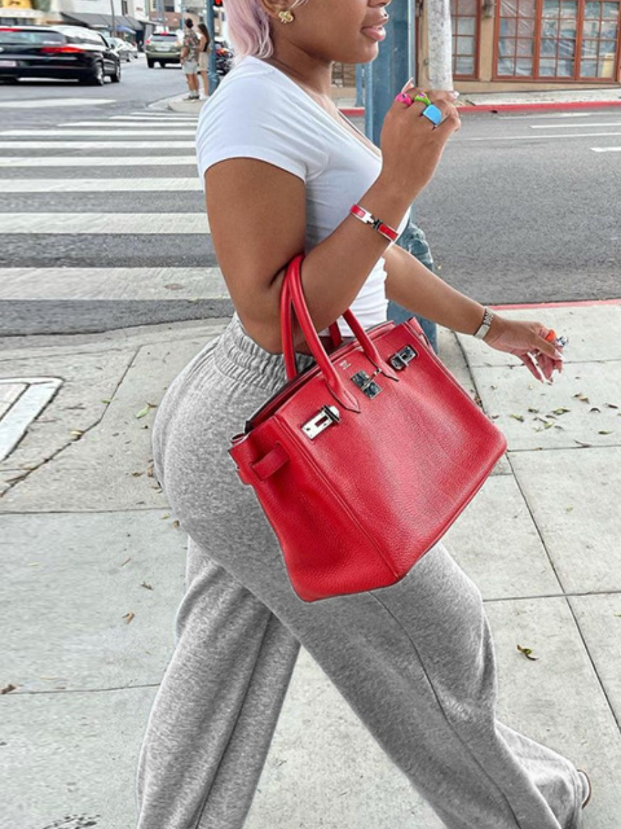 LW BASICS Shirred Waist Pocket Design Pants