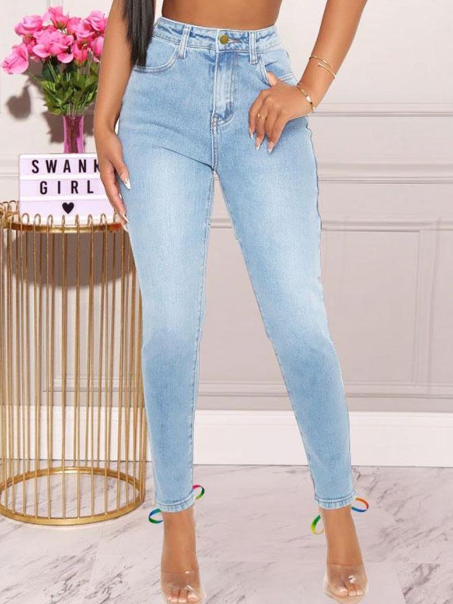 LW BASICS Bandage Hollow-out Design Jeans