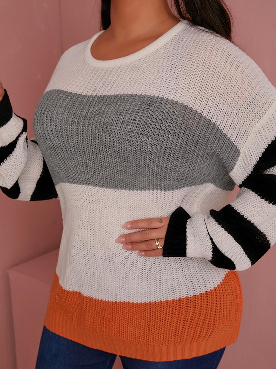 LW Round Neck Striped Patchwork Sweater