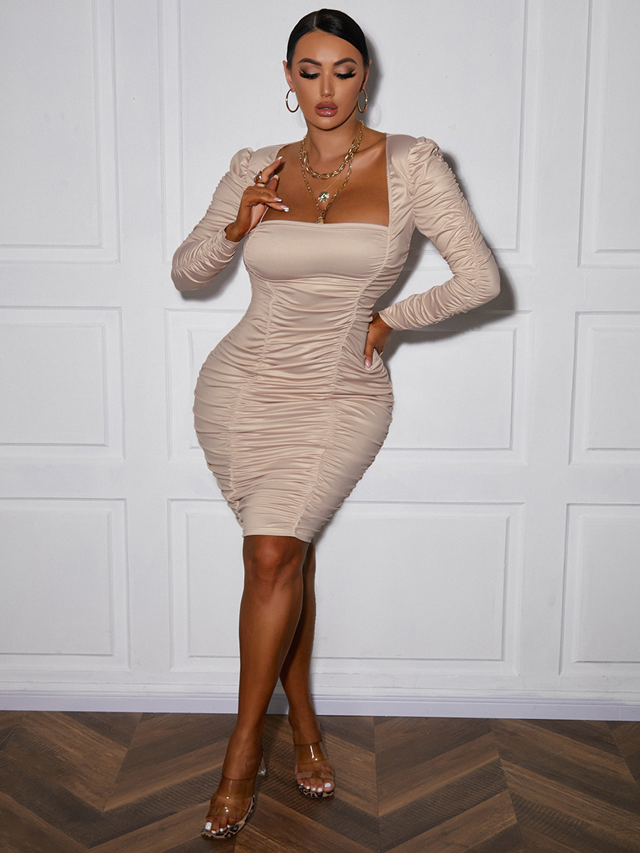 LW Square Neck Ruched Bodycon Dress