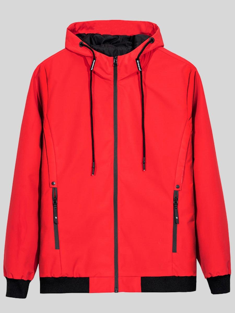 LW COTTON Men Letter Print Zipper Design Jacket