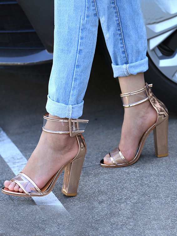 LW Stylish Clear Strap Buckle Decor Heels
