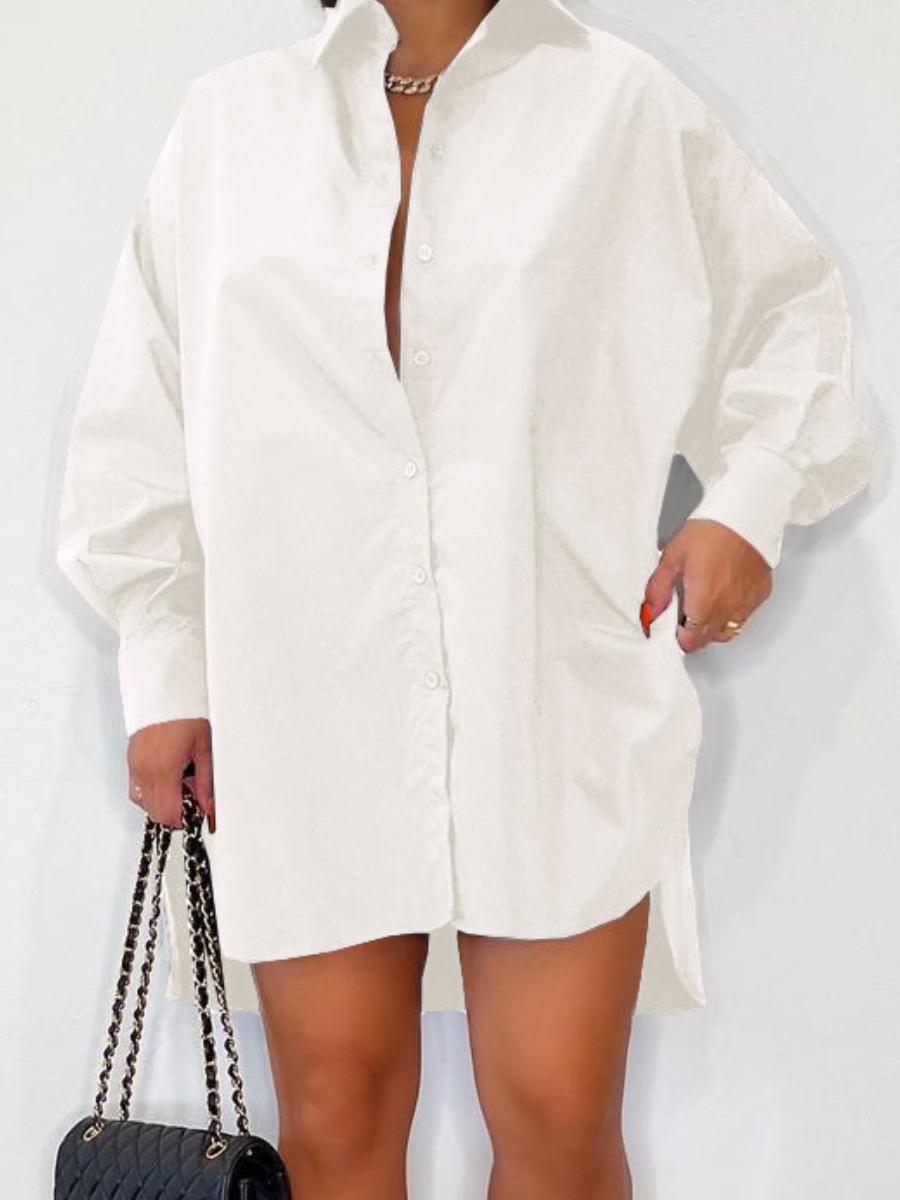 LW Button Design Slit Shirt Dress