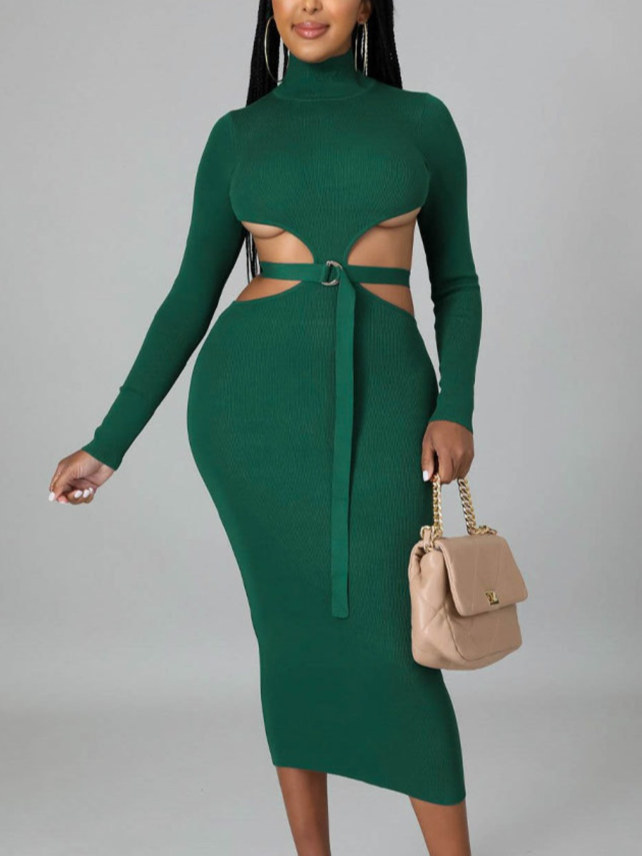 LW SXY Hollow-out Buckle Design Bodycon Dress