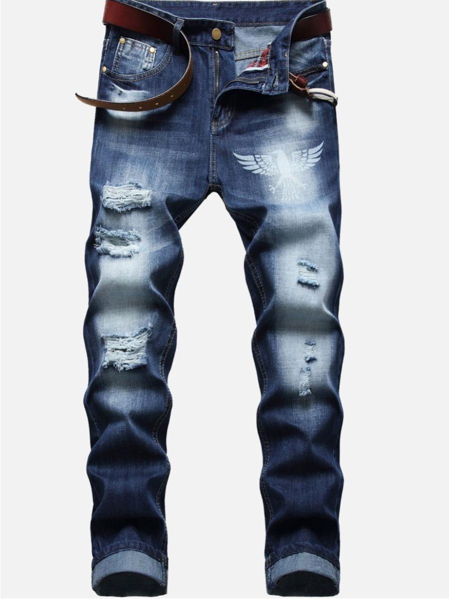 LW Men Casual Denim Ripped Gradient Jeans