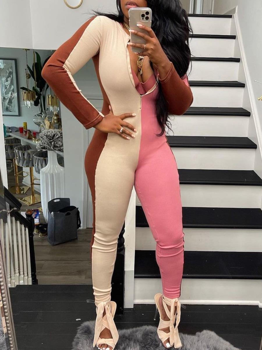 LW Striped Patchwork Zipper Design Skinny Jumpsuit
