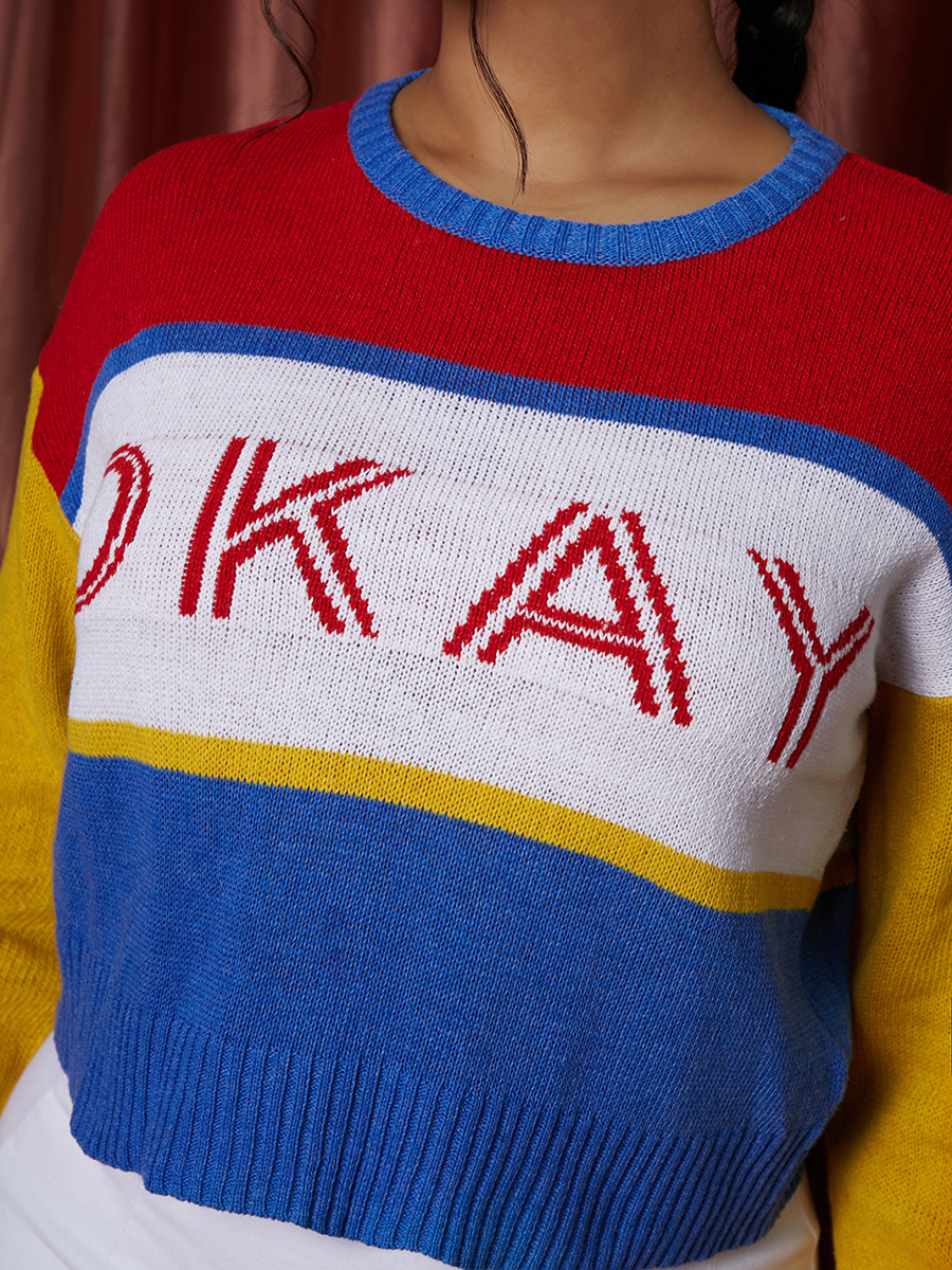 LW Letter Pattern Color Block Sweater