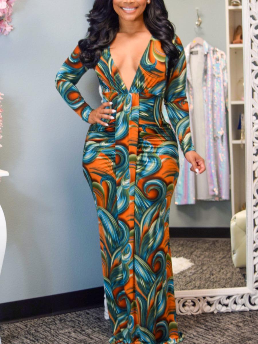 LW SXY V Neck Mixed Print Bodycon Dress