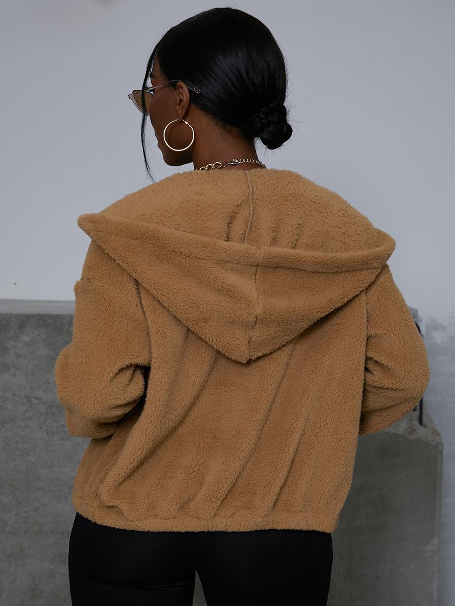 LW EDGE Hooded Collar Plush Teddy Coat