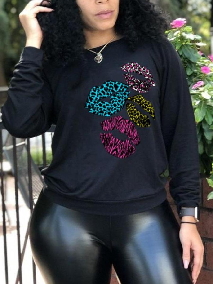 LW BASICS Round Neck Lip Print Sweatshirt
