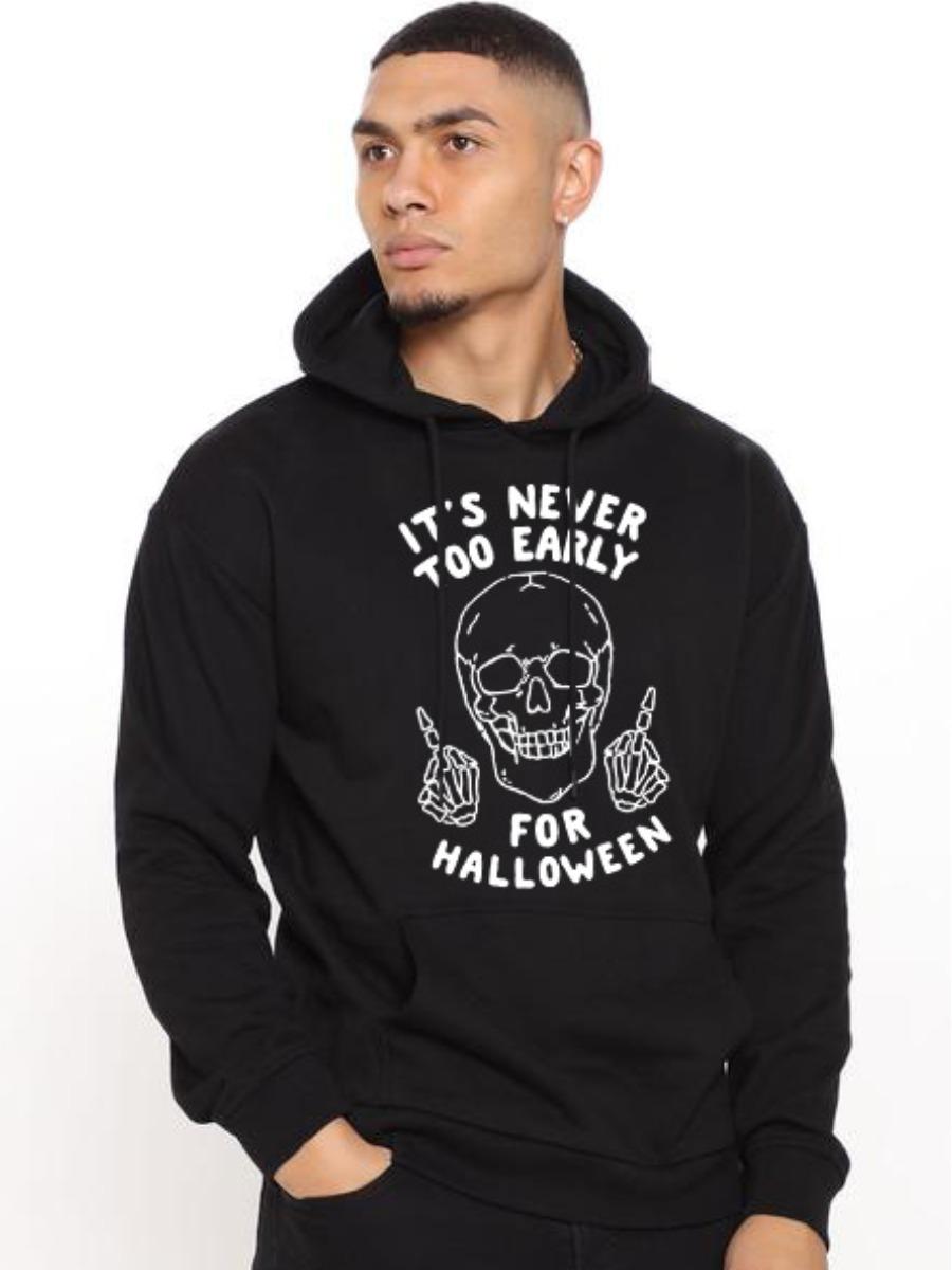 LW BASICS Men Letter Skull Print Hoodie