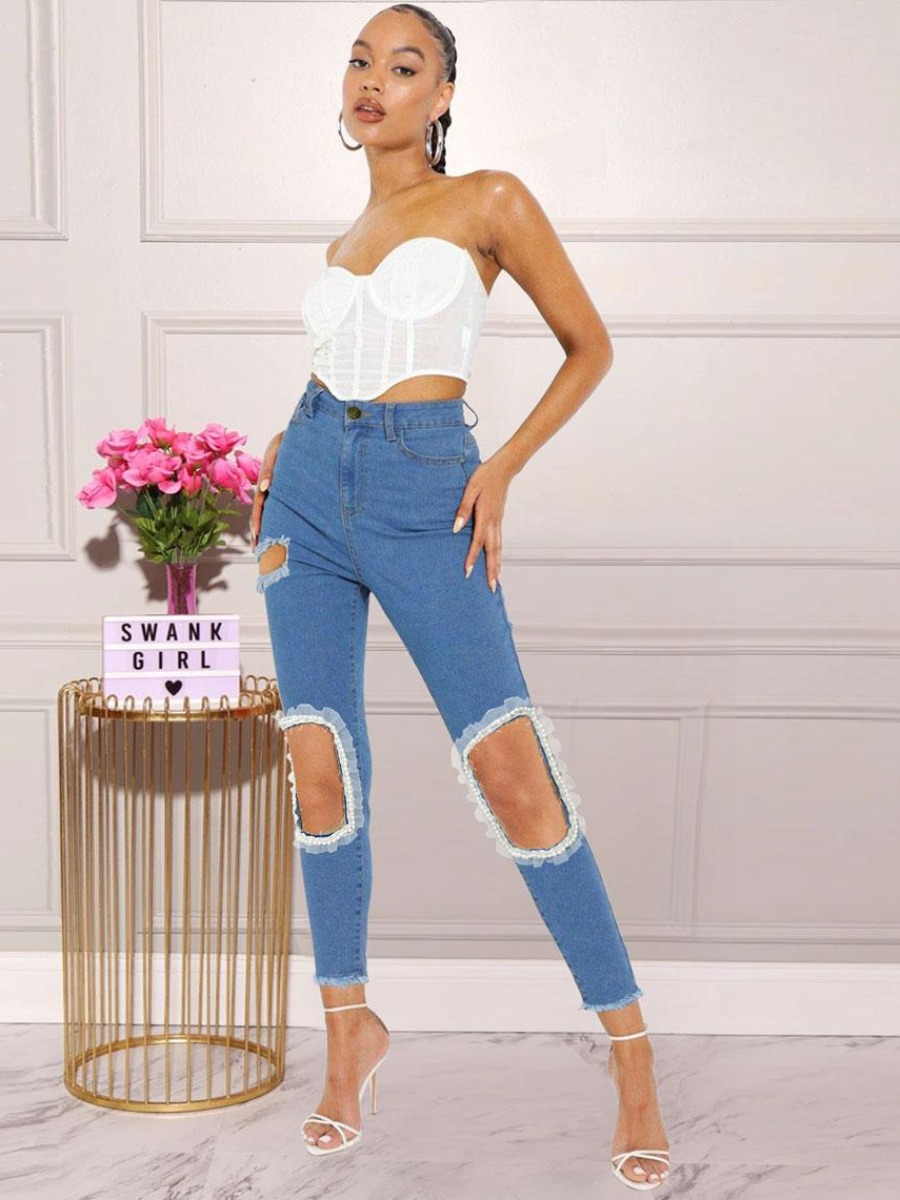 LW BASICS Lace Hem Ripped Skinny Jeans