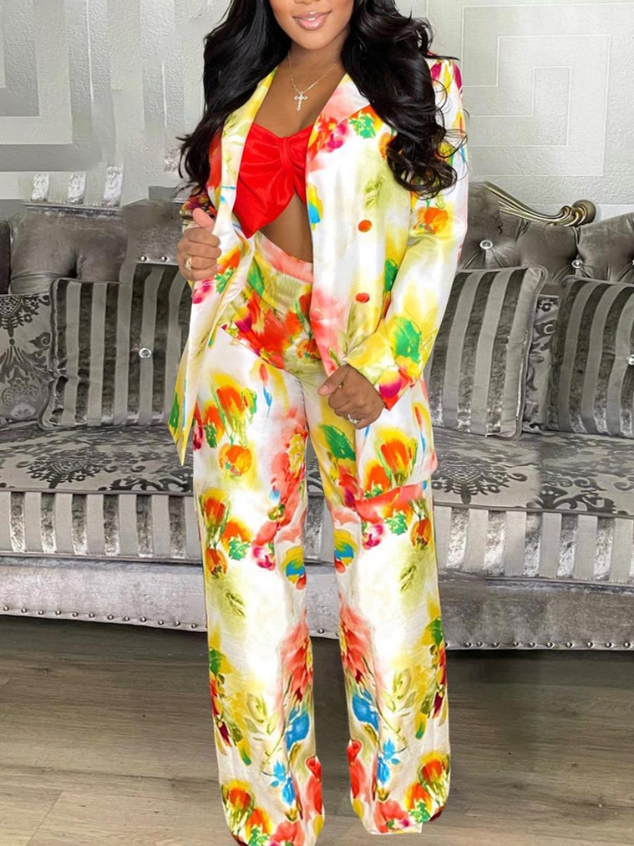 LW Floral Print Button Design Pants Set