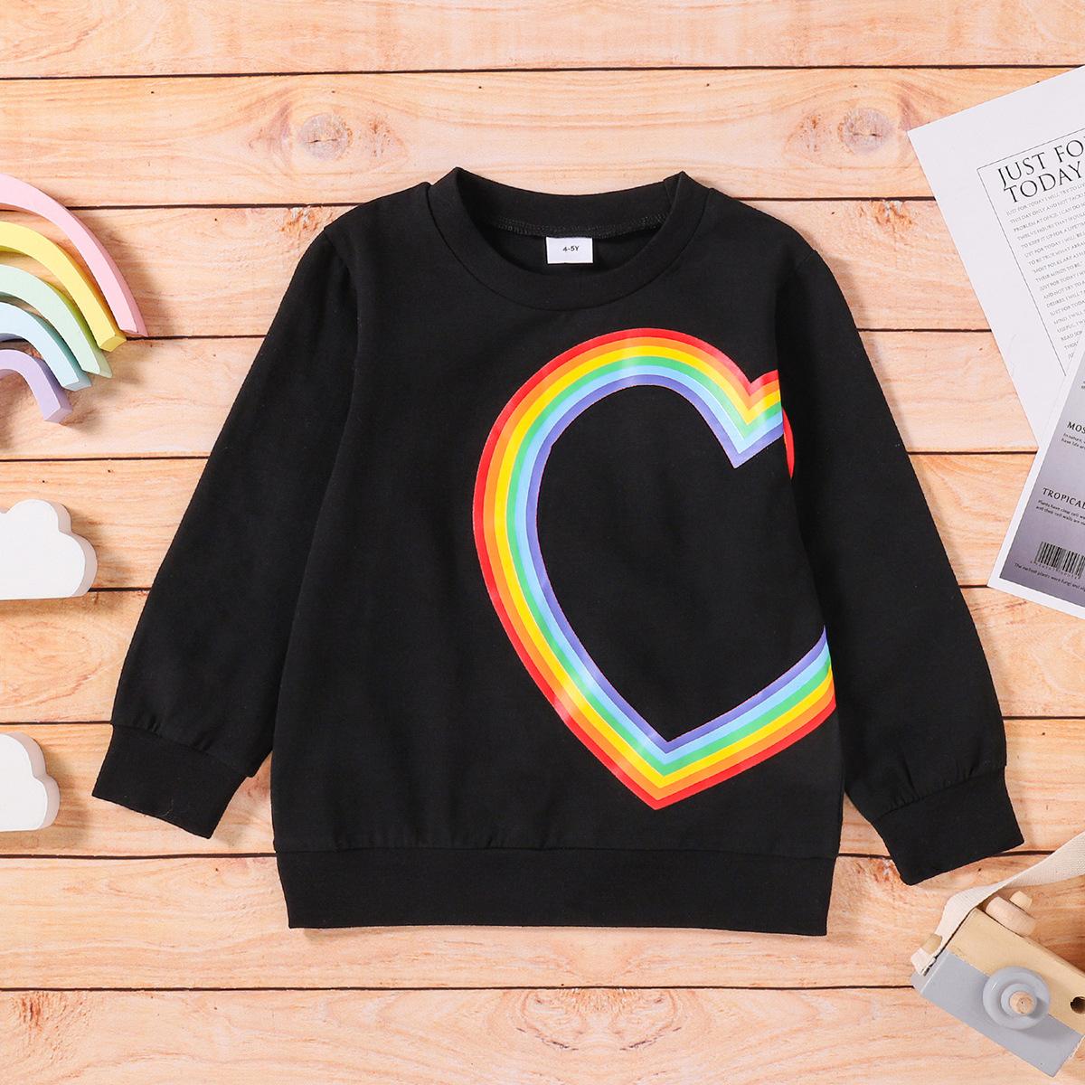 LW COTTON Boy Rainbow Heart Print Sweatshirt