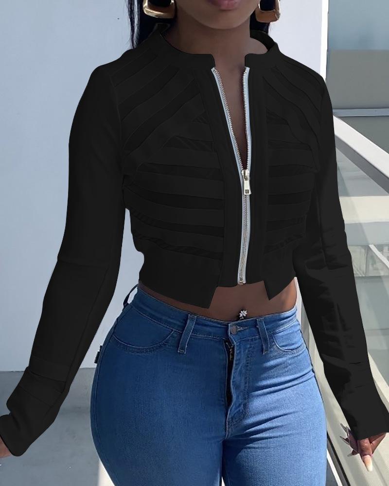LW SXY Zipper See-through Patchwork Jacket