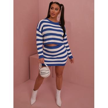 LW Dropped Shoulder Striped Loose Skirt Set