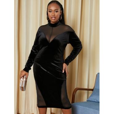LW Plus Size Velvet Turtleneck See-through Bodycon Dress
