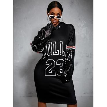 LW Hooded Collar Letter Print Sweat Dress