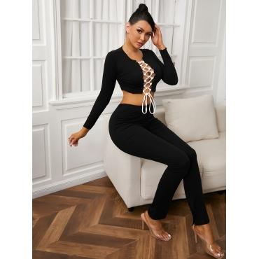 LW SXY Sportswear Bandage Design Patchwork Black Two Piece Pants Set