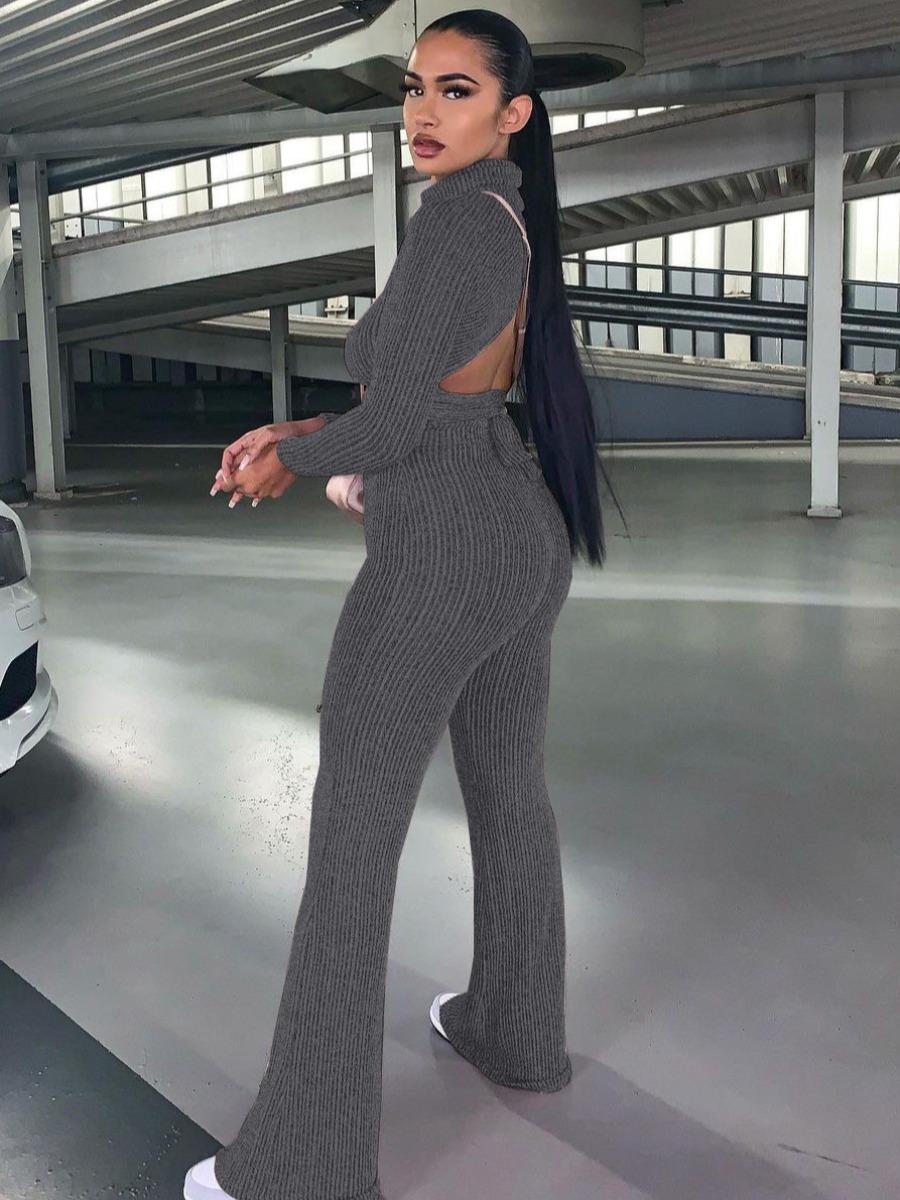 LW Backless Tie Back Flared Pants Set