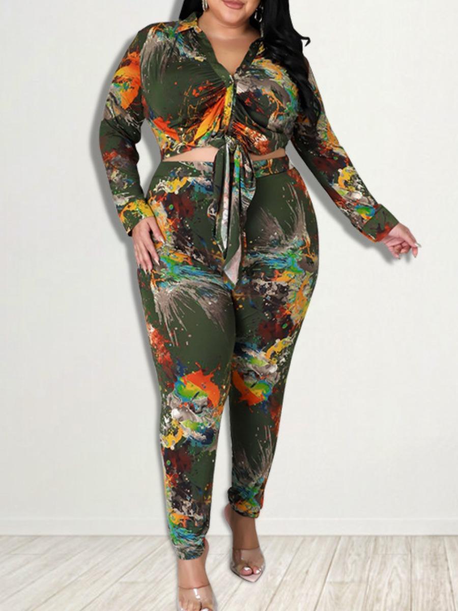 LW Plus Size Tie Dye Bandage Design Pants Set