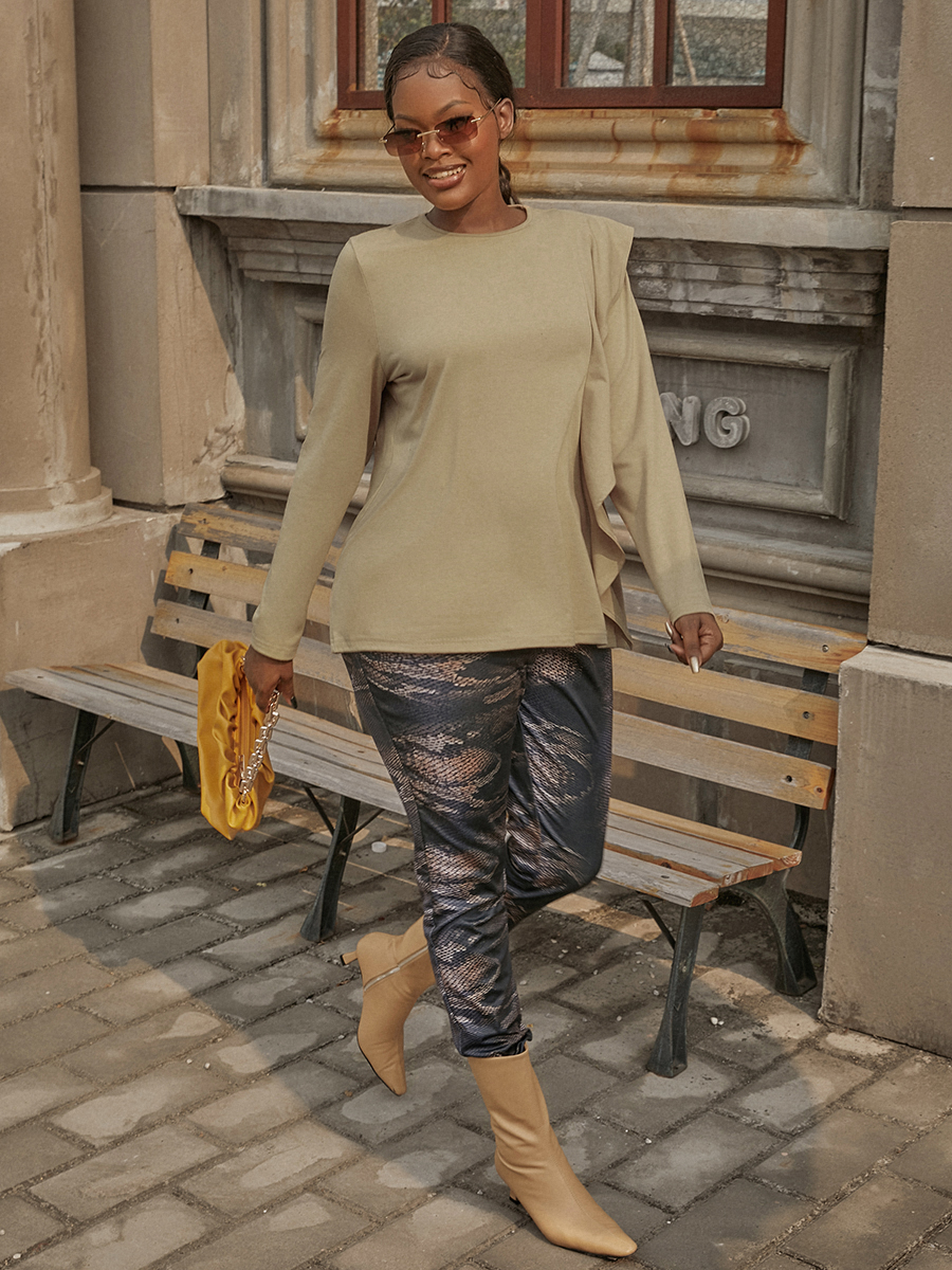 LW Cotton Ruffle Design Pullover T-shirt