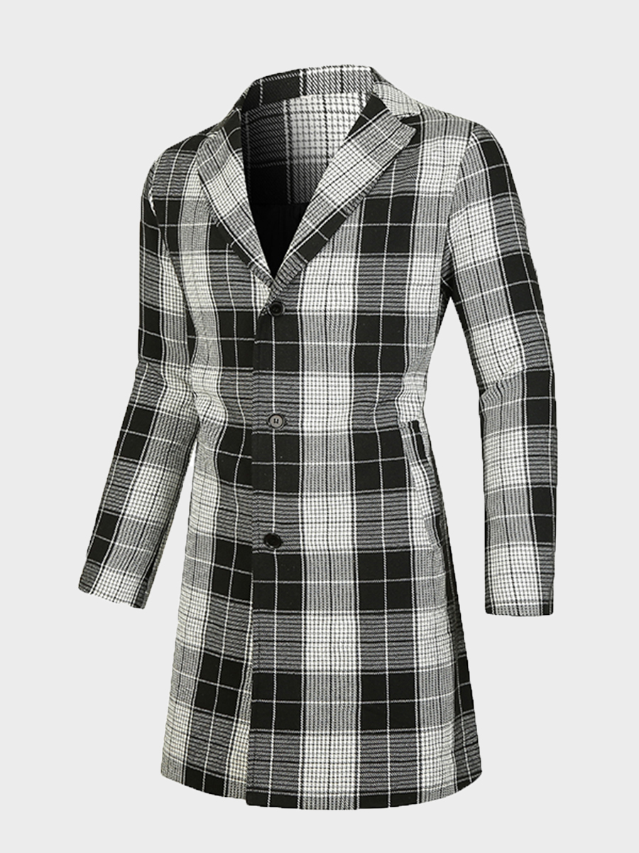 LW Men Lapel Neck Pocket Design Plaid Wool, lovely, Wool&Blends  - buy with discount
