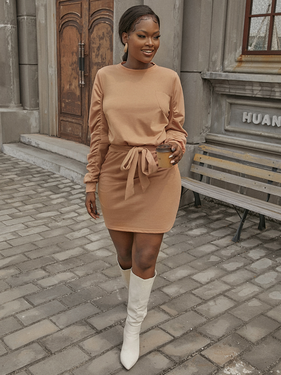 LW Cotton Ruched Bandage Design Dress