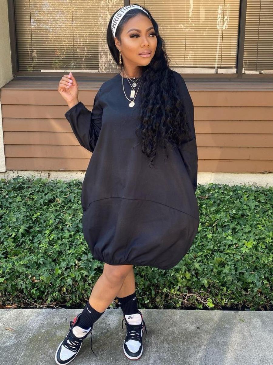 LW Pocket Design Pullover Basic Dress