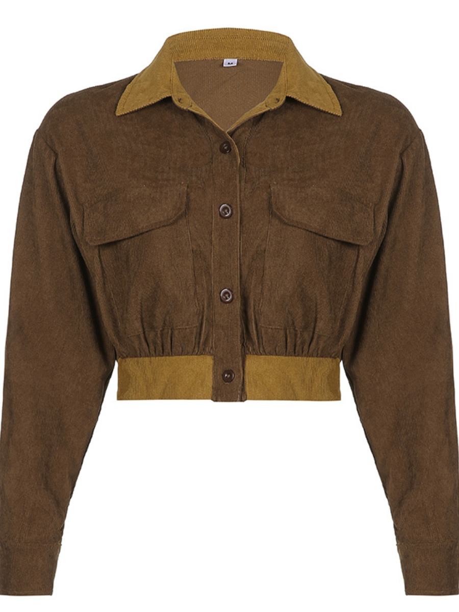 LW Button Pocket Design Patchwork Skinny Jacket