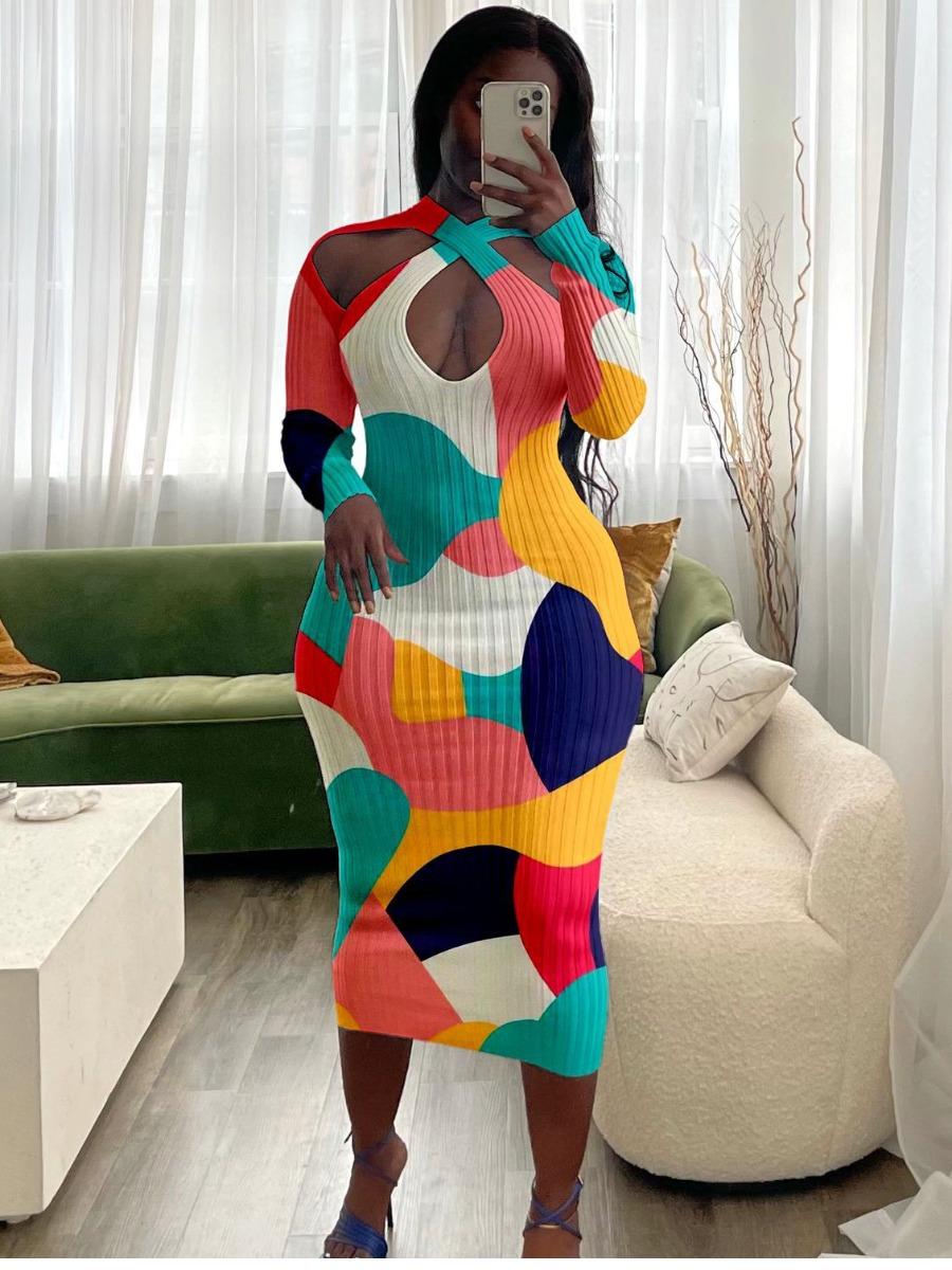 LW Cut Out Design Patchwork Bodycon Dress