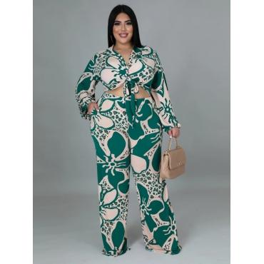 LW Plus Size Flower Print Front Tie Crop Pants Set