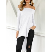 Leisure Dew Shoulder Asymmetrical White Cotton Blends Shirts