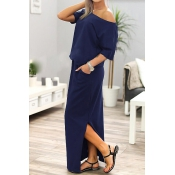 Cotton Blend Casual Bateau Neck One Shoulder Short