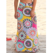 Stylish High Waist Printed Yellow Polyester Ankle