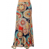 Stylish High Waist Printed Aapricot Polyester Ankl