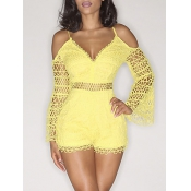 Stylish V Neck Hollow-out Yellow Bud Silk One-piec