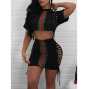 Stylish Round Neck Patchwork Black Polyester Two-piece Shorts Set