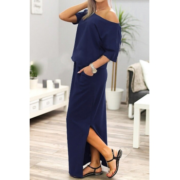 Cotton Blend Casual Bateau Neck One Shoulder Short Sleeve Beach Ankle Length Dresses