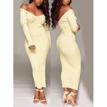 Sexy V Neck Long Sleeves Polyester White Sheath Mid Calf Dress