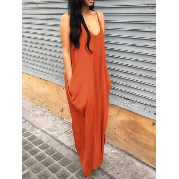 Casual V Neck Orange Blending Floor Length Dress